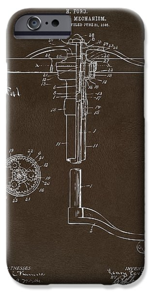 Mechanism iPhone Cases - 1907 Henry Ford Steering Wheel Patent Espresso iPhone Case by Nikki Marie Smith