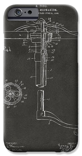 Negro iPhone Cases - 1907 Henry Ford Steering Wheel Patent Gray iPhone Case by Nikki Marie Smith
