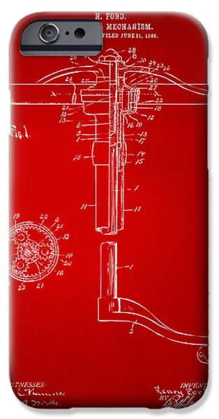 Mechanism iPhone Cases - 1907 Henry Ford Steering Wheel Patent Red iPhone Case by Nikki Marie Smith