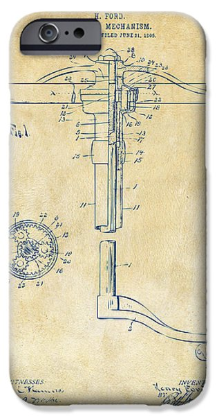 Mechanism iPhone Cases - 1907 Henry Ford Steering Wheel Patent Vintage iPhone Case by Nikki Marie Smith
