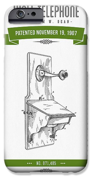 Old Digital Art iPhone Cases - 1907 Wall Telephone Apparatus Patent Drawing - Retro Green iPhone Case by Aged Pixel