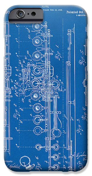 Marching Band iPhone Cases - 1908 Flute Patent - Blueprint iPhone Case by Nikki Marie Smith