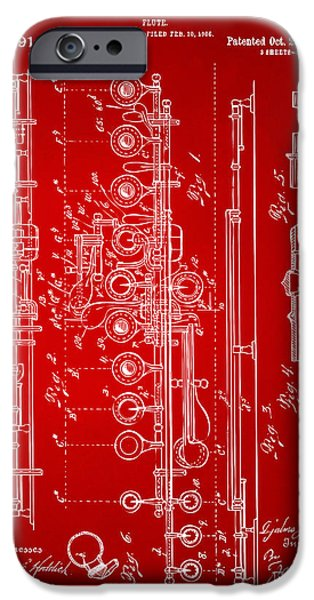 Marching Band iPhone Cases - 1908 Flute Patent - Red iPhone Case by Nikki Marie Smith