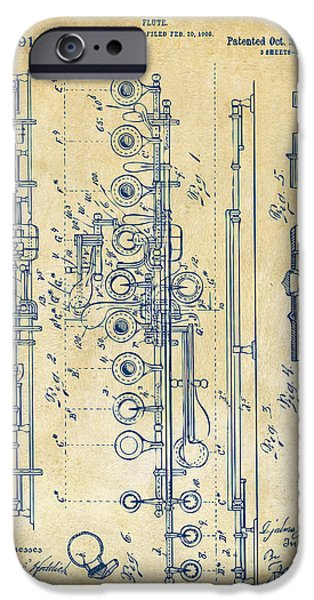Marching Band iPhone Cases - 1908 Flute Patent - Vintage iPhone Case by Nikki Marie Smith
