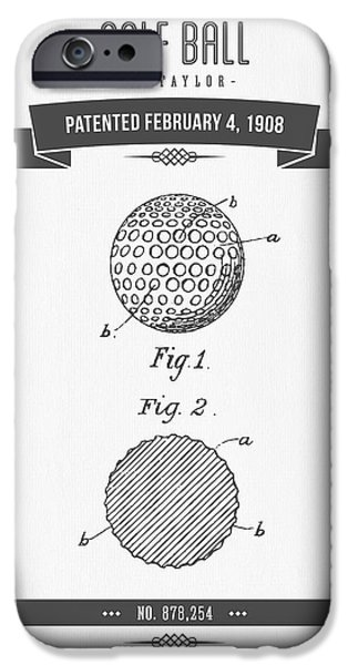 Recently Sold -  - Technical iPhone Cases - 1908 Taylor Golf Ball Patent Drawing - Retro Gray iPhone Case by Aged Pixel