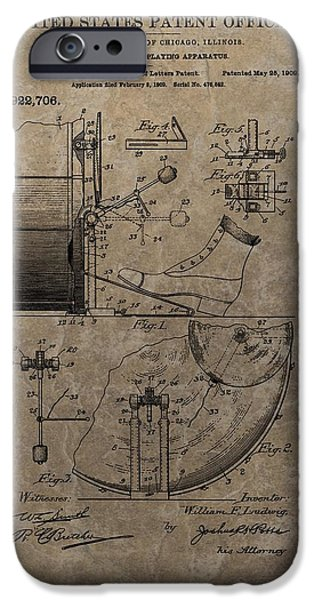 Sound Mixed Media iPhone Cases - 1909 Drum Patent iPhone Case by Dan Sproul