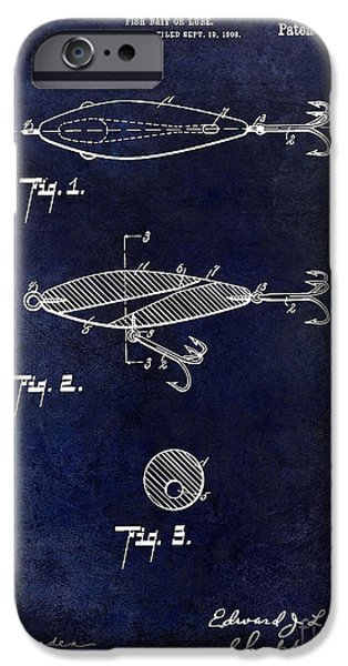 Shark iPhone Cases - 1909 Fishing Lure Patent Drawing Blue iPhone Case by Jon Neidert