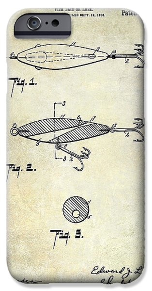 Shark iPhone Cases - 1909 Fishing Lure Patent Drawing iPhone Case by Jon Neidert