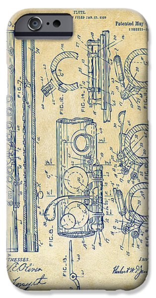 Marching Band iPhone Cases - 1909 Flute Patent - Vintage iPhone Case by Nikki Marie Smith