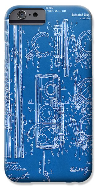 Marching Band iPhone Cases - 1909 Flute Patent - Blueprint iPhone Case by Nikki Marie Smith