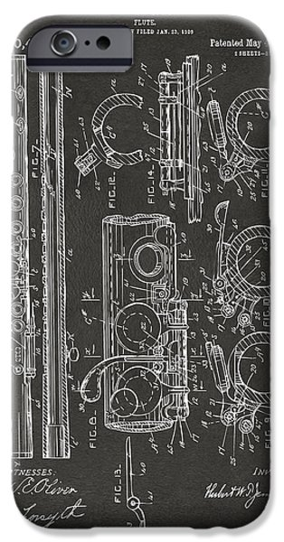 Flute iPhone Cases - 1909 Flute Patent - Gray iPhone Case by Nikki Marie Smith