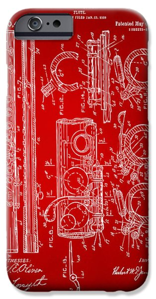 Flute iPhone Cases - 1909 Flute Patent in Red iPhone Case by Nikki Marie Smith