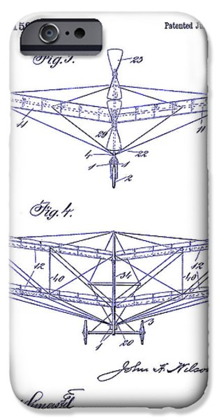 Airliner iPhone Cases - 1909 Flying Machine Patent Drawing Blueprint iPhone Case by Jon Neidert