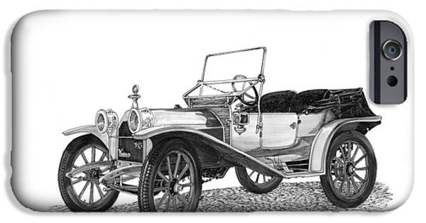Support Drawings iPhone Cases - 1909 Hupp Model 20 Roadster iPhone Case by Jack Pumphrey