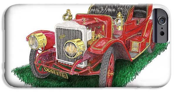 Elected iPhone Cases - 1909 White Steam Car iPhone Case by Jack Pumphrey