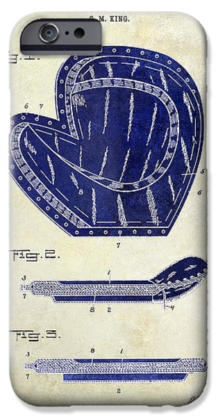 Base iPhone Cases - 1910 Baseball Patent Drawing 2 Tone iPhone Case by Jon Neidert