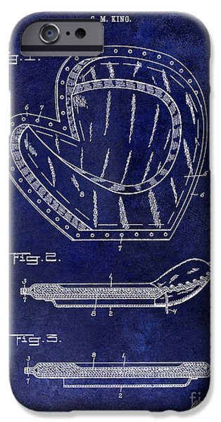 Base iPhone Cases - 1910 Baseball Patent Drawing Blue iPhone Case by Jon Neidert