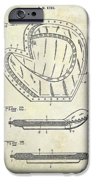 Baseball Glove iPhone Cases - 1910 Baseball Patent Drawing iPhone Case by Jon Neidert