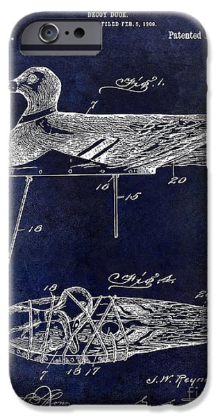Hunting Bird iPhone Cases - 1910 duck Decoy Patent Drawing iPhone Case by Jon Neidert