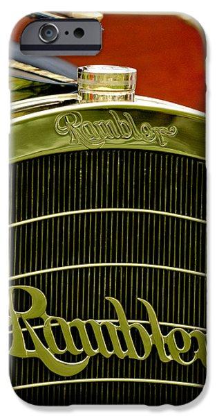 1910 Rambler Model 54 5 Passenger Touring Hood Ornament iPhone Case by Jill Reger