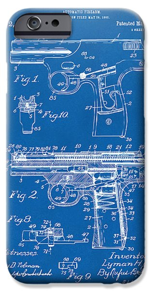 Law Enforcement iPhone Cases - 1911 Automatic Firearm Patent Artwork - Blueprint iPhone Case by Nikki Marie Smith
