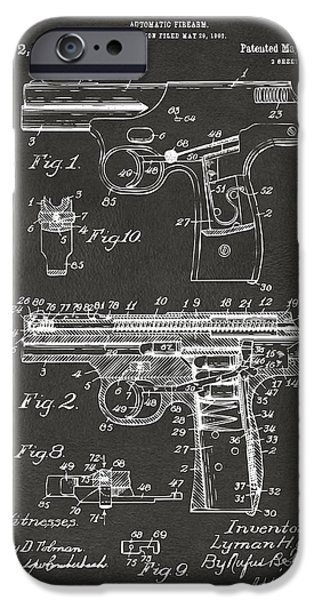 Bang iPhone Cases - 1911 Automatic Firearm Patent Artwork - Gray iPhone Case by Nikki Marie Smith