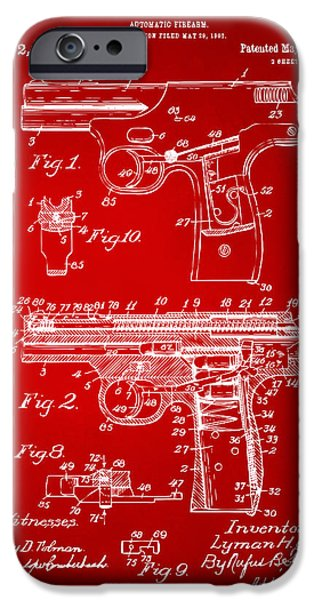 Law Enforcement iPhone Cases - 1911 Automatic Firearm Patent Artwork - Red iPhone Case by Nikki Marie Smith