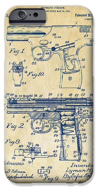 Bang iPhone Cases - 1911 Automatic Firearm Patent Artwork - Vintage iPhone Case by Nikki Marie Smith