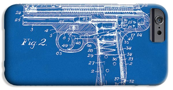 X-ray iPhone Cases - 1911 Automatic Firearm Patent Minimal - Blueprint iPhone Case by Nikki Marie Smith