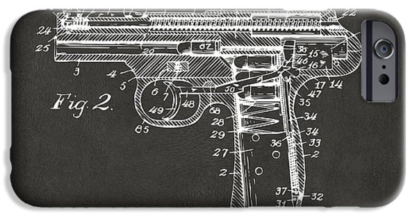 X-ray iPhone Cases - 1911 Automatic Firearm Patent Minimal - Gray iPhone Case by Nikki Marie Smith