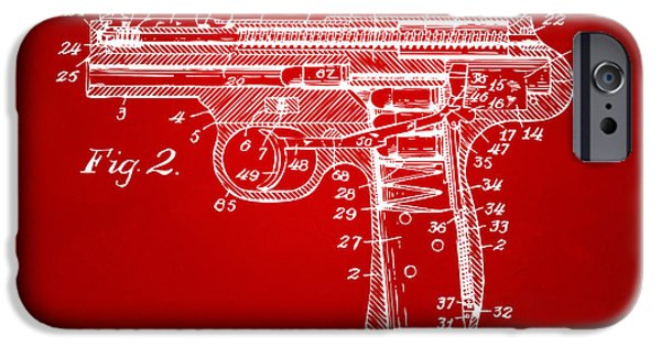 X-ray iPhone Cases - 1911 Automatic Firearm Patent Minimal - Red iPhone Case by Nikki Marie Smith