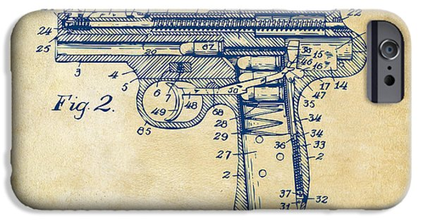 War iPhone Cases - 1911 Automatic Firearm Patent Minimal - Vintage iPhone Case by Nikki Marie Smith