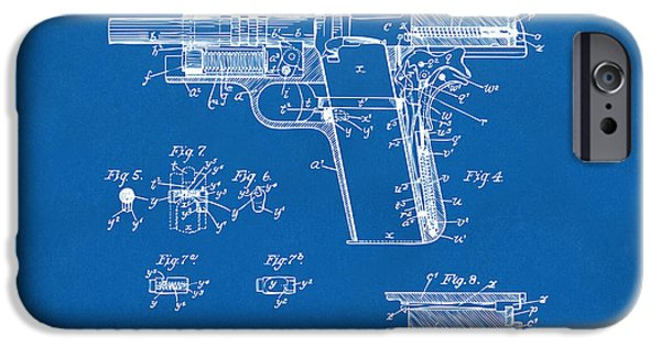 Colt 45 iPhone Cases - 1911 Colt 45 Browning Firearm Patent 2 Artwork Blueprint iPhone Case by Nikki Marie Smith