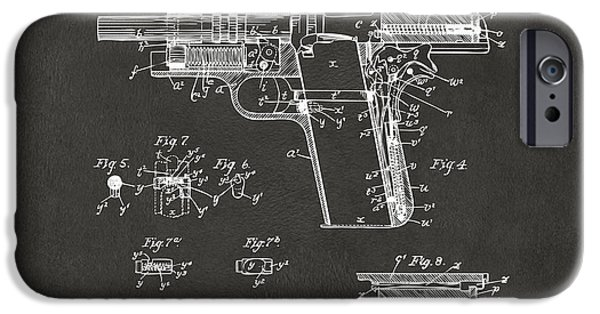 Colt 45 iPhone Cases - 1911 Colt 45 Browning Firearm Patent 2 Artwork - Gray iPhone Case by Nikki Marie Smith