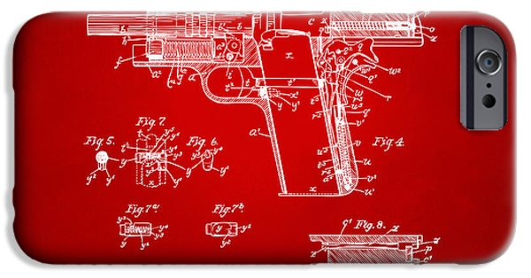 Colt 45 iPhone Cases - 1911 Colt 45 Browning Firearm Patent 2 Artwork Red iPhone Case by Nikki Marie Smith