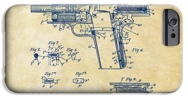Colt 45 iPhone Cases - 1911 Colt 45 Browning Firearm Patent 2 Artwork Vintage iPhone Case by Nikki Marie Smith