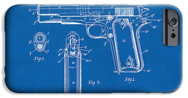 Colt 45 iPhone Cases - 1911 Colt 45 Browning Firearm Patent Artwork Blueprint iPhone Case by Nikki Marie Smith
