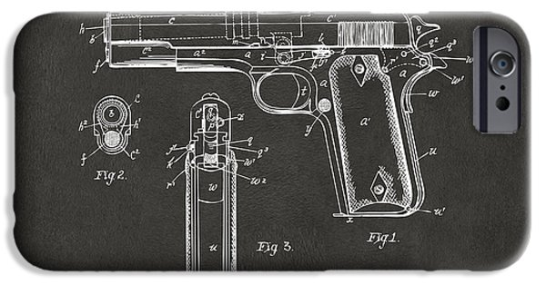 Blueprint iPhone Cases - 1911 Browning Firearm Patent Artwork - Gray iPhone Case by Nikki Marie Smith
