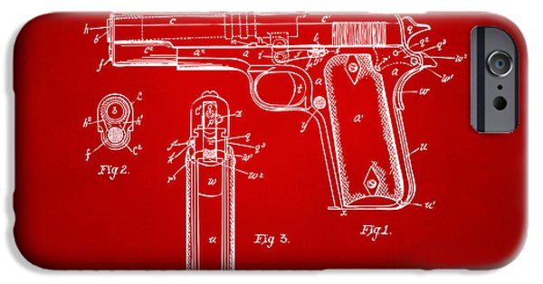 Colt 45 iPhone Cases - 1911 Colt 45 Browning Firearm Patent Artwork Red iPhone Case by Nikki Marie Smith