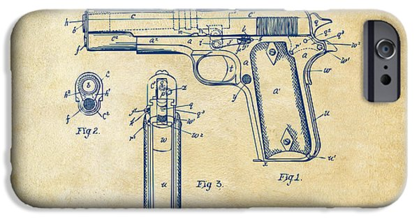 Weapon iPhone Cases - 1911 Colt 45 Browning Firearm Patent Artwork Vintage iPhone Case by Nikki Marie Smith