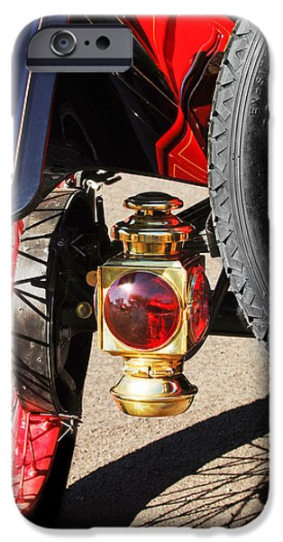 Model T iPhone Cases - 1911 Ford Model T Torpedo 4 cylinder 25 HP Taillight iPhone Case by Jill Reger