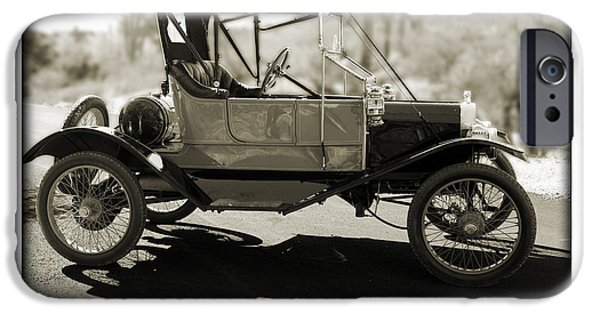 Ford Model T Car iPhone Cases - 1911 Ford Model T Torpedo iPhone Case by Jill Reger