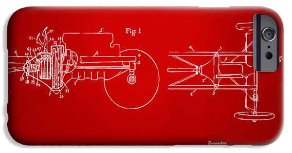 Model T iPhone Cases - 1911 Henry Ford Transmission Patent Red iPhone Case by Nikki Marie Smith