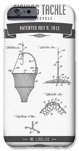Basket Mixed Media iPhone Cases - 1912 Fishing Tackle Patent Drawing iPhone Case by Aged Pixel