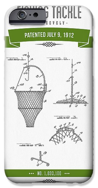 Basket Mixed Media iPhone Cases - 1912 Fishing Tackle Patent Drawing - Green iPhone Case by Aged Pixel