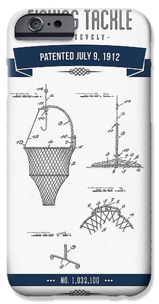 Basket Mixed Media iPhone Cases - 1912 Fishing Tackle Patent Drawing - Navy Blue iPhone Case by Aged Pixel