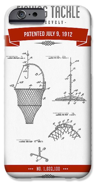 Net Mixed Media iPhone Cases - 1912 Fishing Tackle Patent Drawing - Red iPhone Case by Aged Pixel