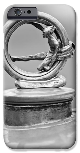 Skiff iPhone Cases - 1912 Gobron-Brillie 12 CV Skiff Hood Ornament 2 iPhone Case by Jill Reger