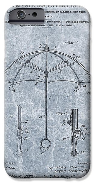 Rainy Day iPhone Cases - 1912 Umbrella Patent iPhone Case by Dan Sproul