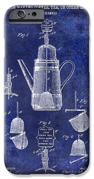1900 iPhone Cases - 1913 Coffee or Tea Pot Patent Drawing Blue iPhone Case by Jon Neidert